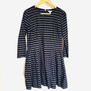 GAP// navy blue stripe long sleeve a-line dress 4